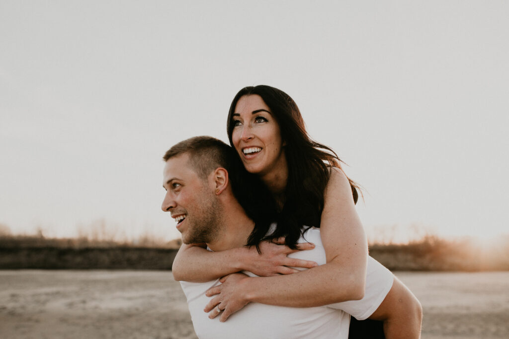 saskatchewan beach sunset engagement photos